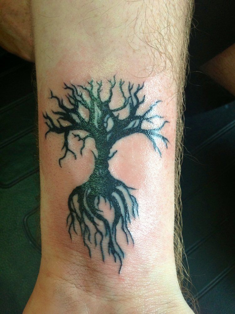 Small Black Tree Of Life Tattoo On Wrist
