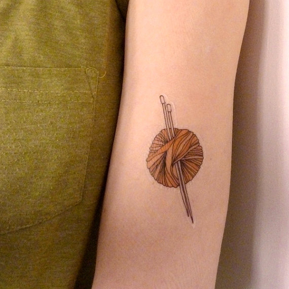 Knitting Needle Tattoo : Awesome yarn tattoos ideas