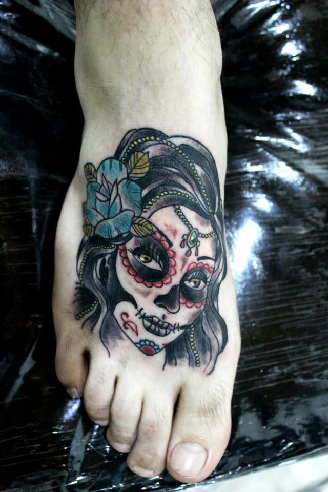 Small Traditional Catrina Tattoo On Foot