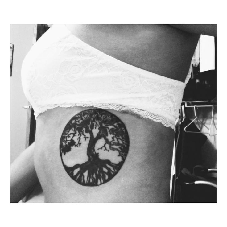 Small Tree Of Life Circle Tattoo On Side Rib For Girls