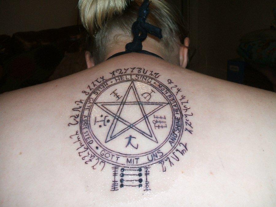 Spiritual Hellsing Alucard Symbol Tattoo On Upper Back By Poorventrue