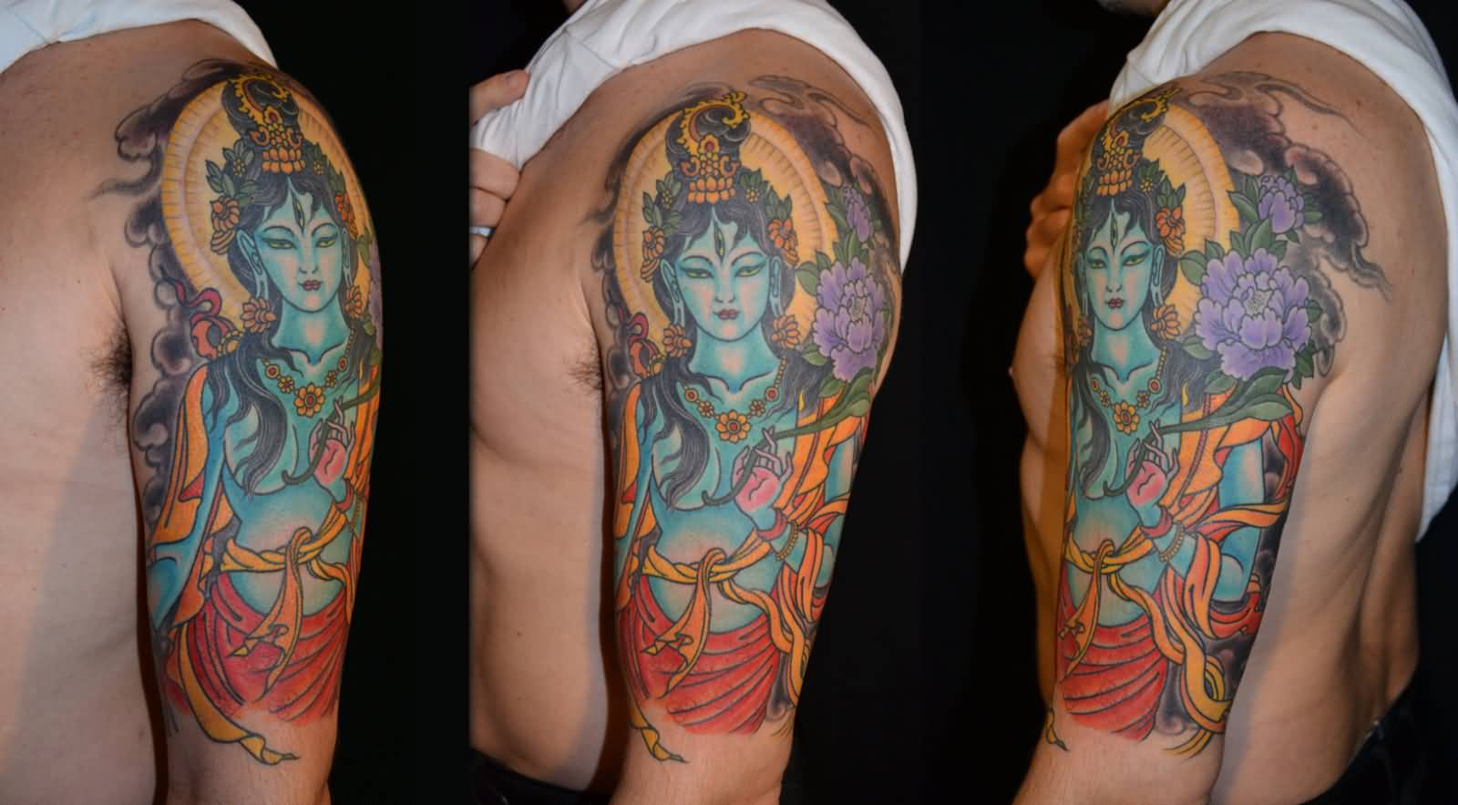 72de62dfe Spiritual Hinduism Tattoo On Left Half Sleeve For Men