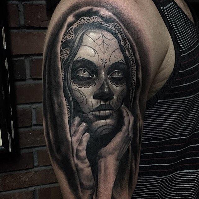 bc9998d40c1 Terrific Realistic Black Tattoo On Right Half Sleeve