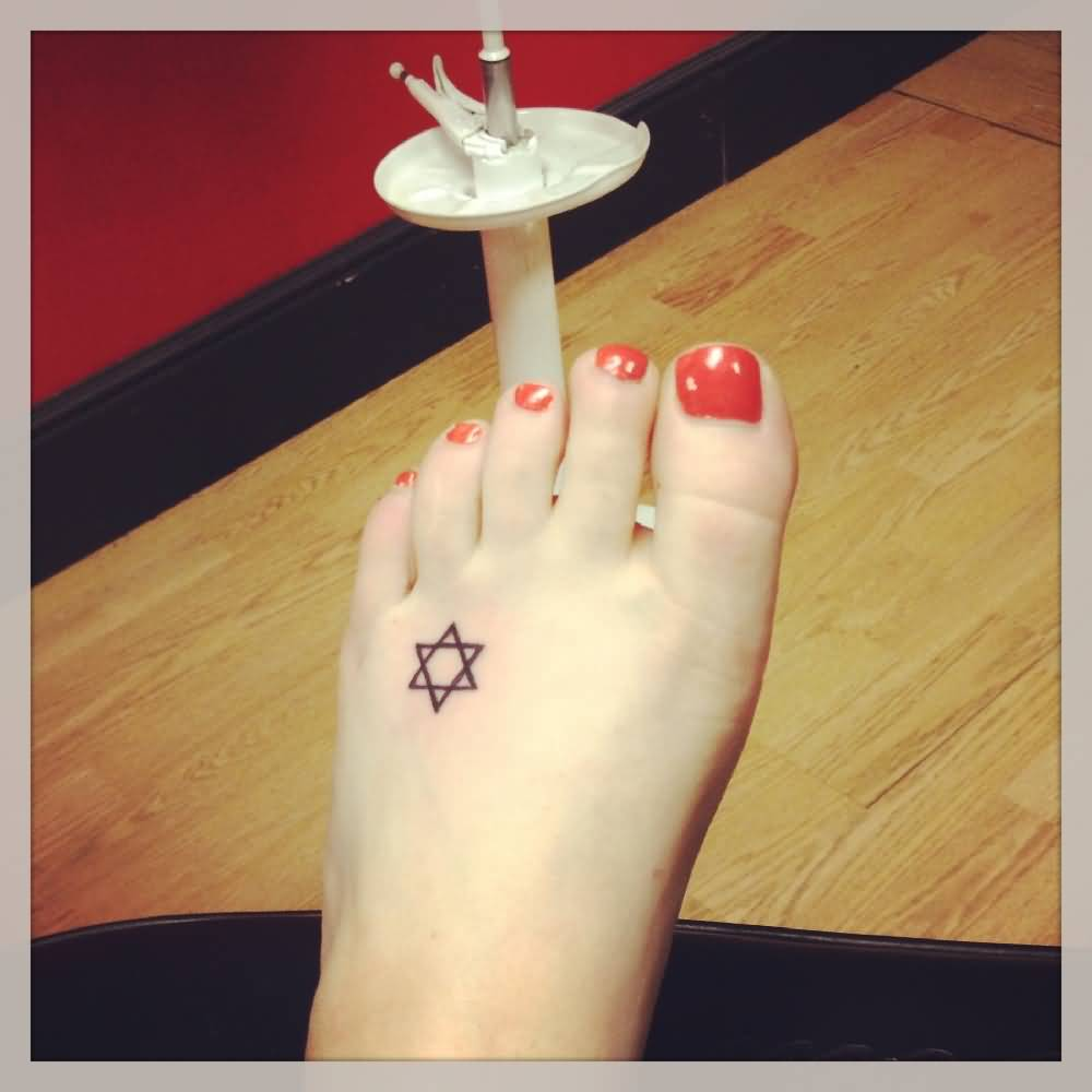 Tiny Star Of David Tattoo On Foot
