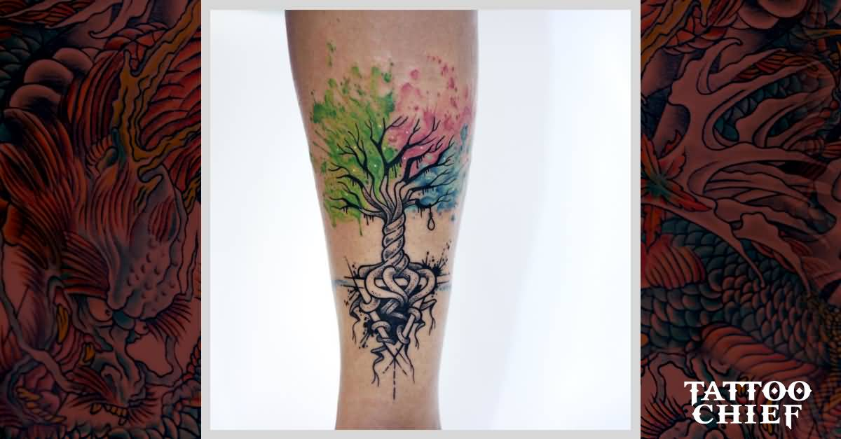 Tiny Tree Of Life Colorful Tattoo On Arm