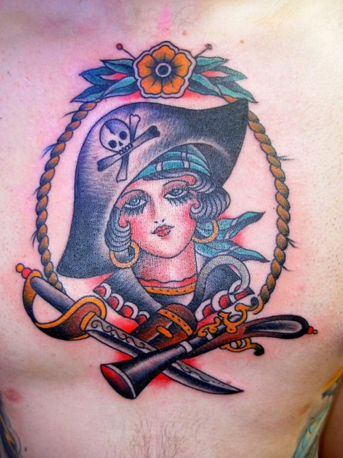 Japanese and pirate girl tattoo design by missmisfit13 for Girl head tattoo