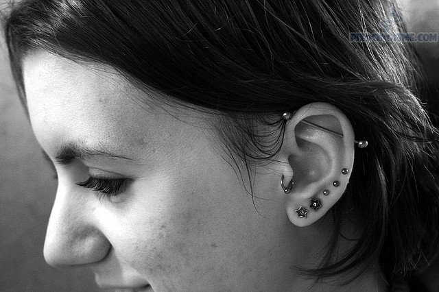 Tragus And Earlobe Piercing Picture For Girls