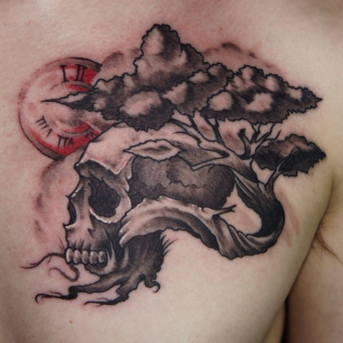 Tree Of Life And Skull Tattoo On Chest For Men