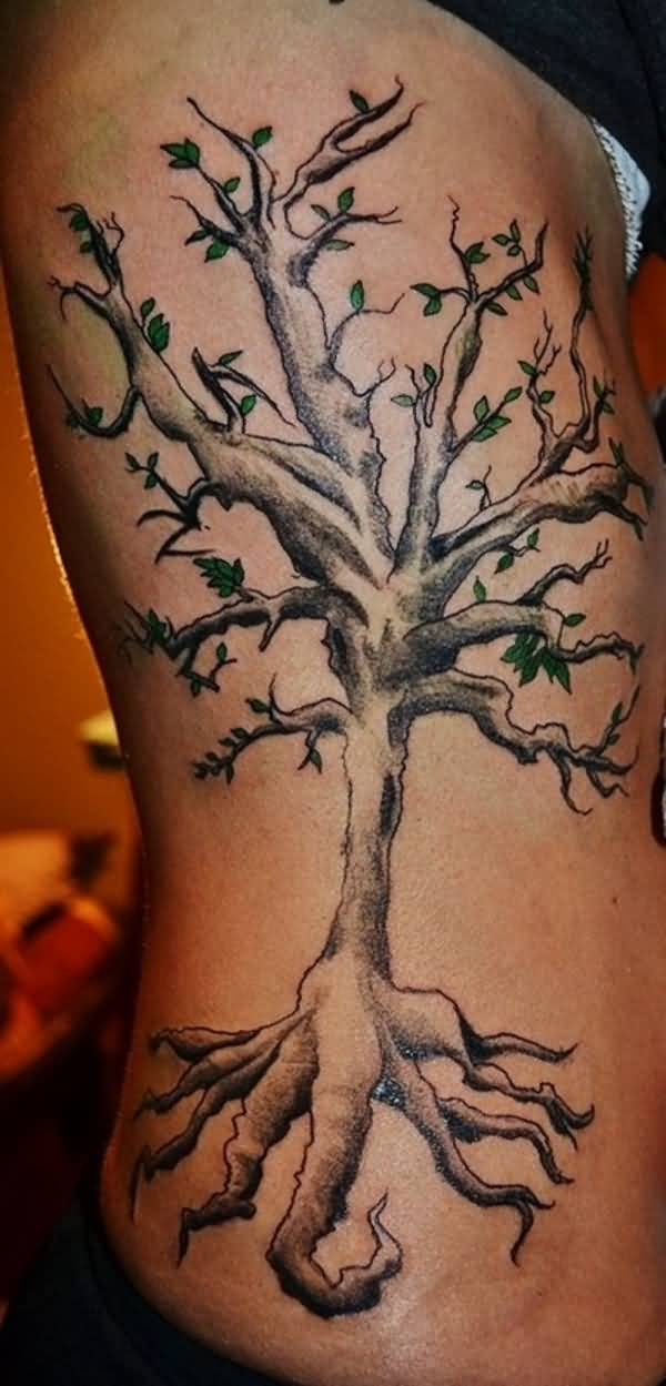 Tree Of Life Tattoo On Side Ribs For Girls