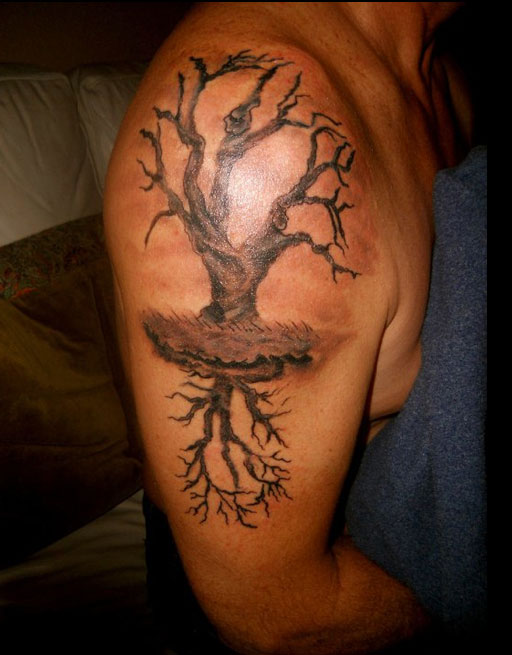 Tree Of Life With Reflection Tattoo On Right Half Sleeve