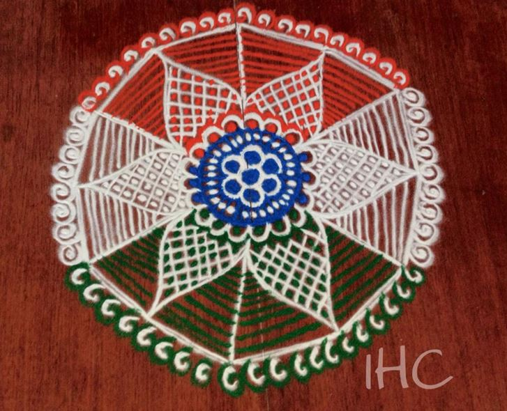 Tri Color Flower Rangoli Design For Independence Day Of India