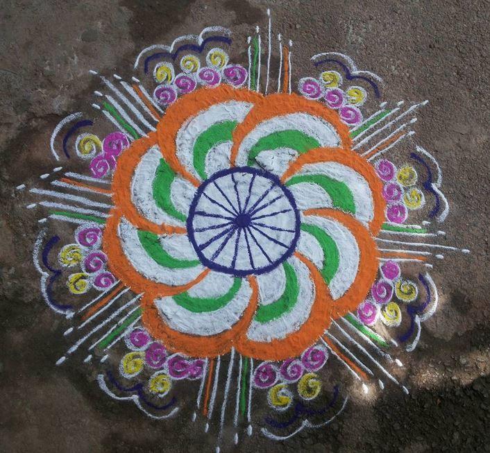 Tri Color Flower Rangoli Design Idea Independence Day