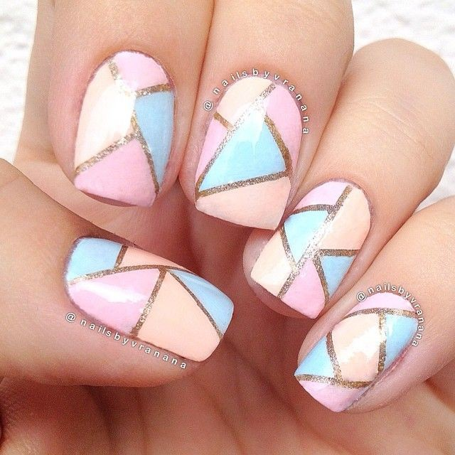 Tri Color Geometric Pattern Nail Art Design - 42 Most Beautiful Geometric Nail Art Design Ideas