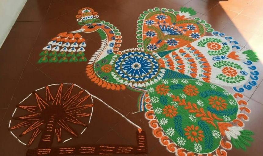 Tri Color Peacock Rangoli Design For Independence Day