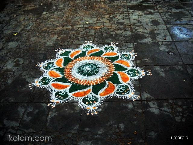Tri Color Rangoli Design Idea For Independence Day Of India