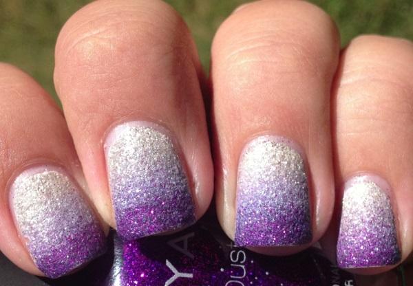 White And Purple Glitter Nail Art