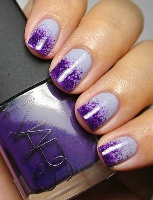 White And Purple Gradient Nail Art Idea - 65 Latest Purple Nail Art Designs For Trendy Girls