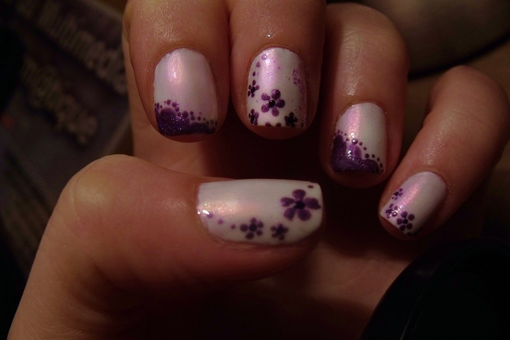 65 cool purple nail art design ideas white nails with purple flowers nail art design prinsesfo Images