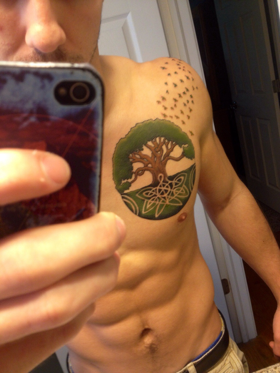 Wonderful Celtic Tree Of Life Tattoo On Left Chest For Men
