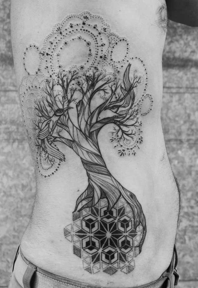 Wonderful Mandala Tree Of Life Tattoo On Side Rib