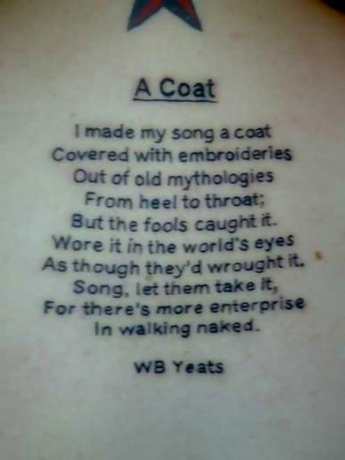 4403a175a A Coat Poem Of W B Yeats Tattoo