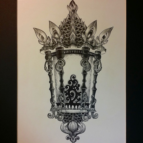 Amazing Vintage Lantern Tattoo Design