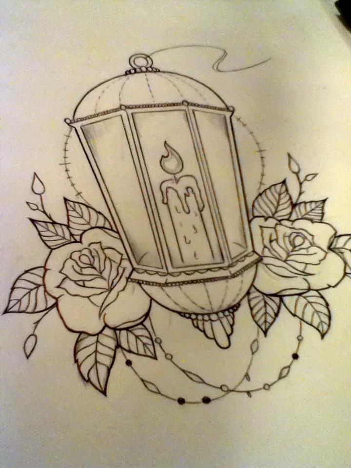 antique burning candle lantern tattoo drawing