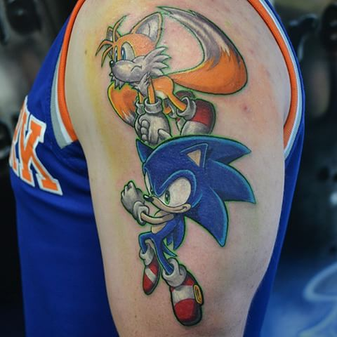 5cb8d07b423e2 Attractive Sonic With Tails Tattoo On Left Half Sleeve For Men