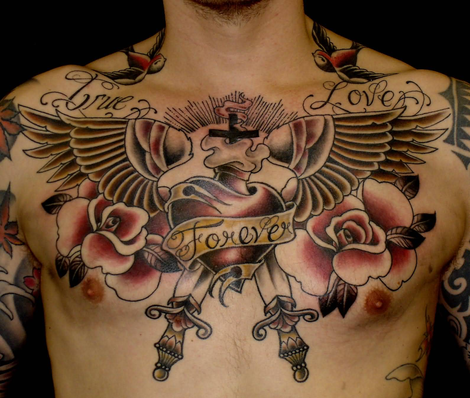 Awesome Memorial Old School Tattoo On Chest