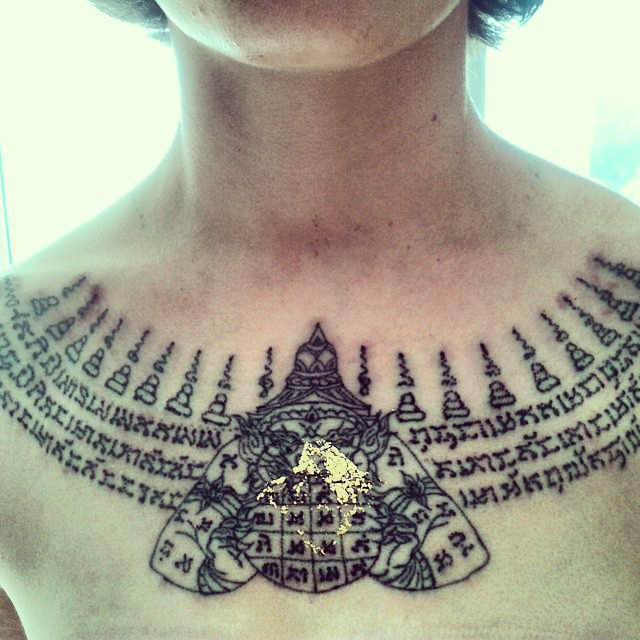 2228d56739a15 Awesome Thai Necklace Style Tattoo