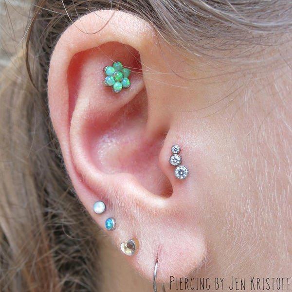 Tragus piercing body jewelry