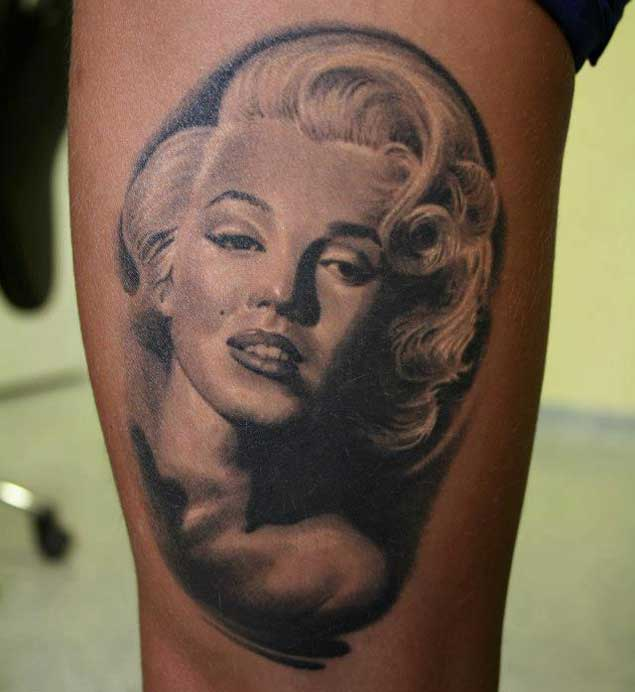 Black And White Marilyn Monroe Tattoo