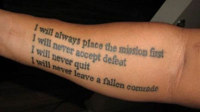 215465fd1 Black Ink Military Poem Tattoo On Arm Sleeve