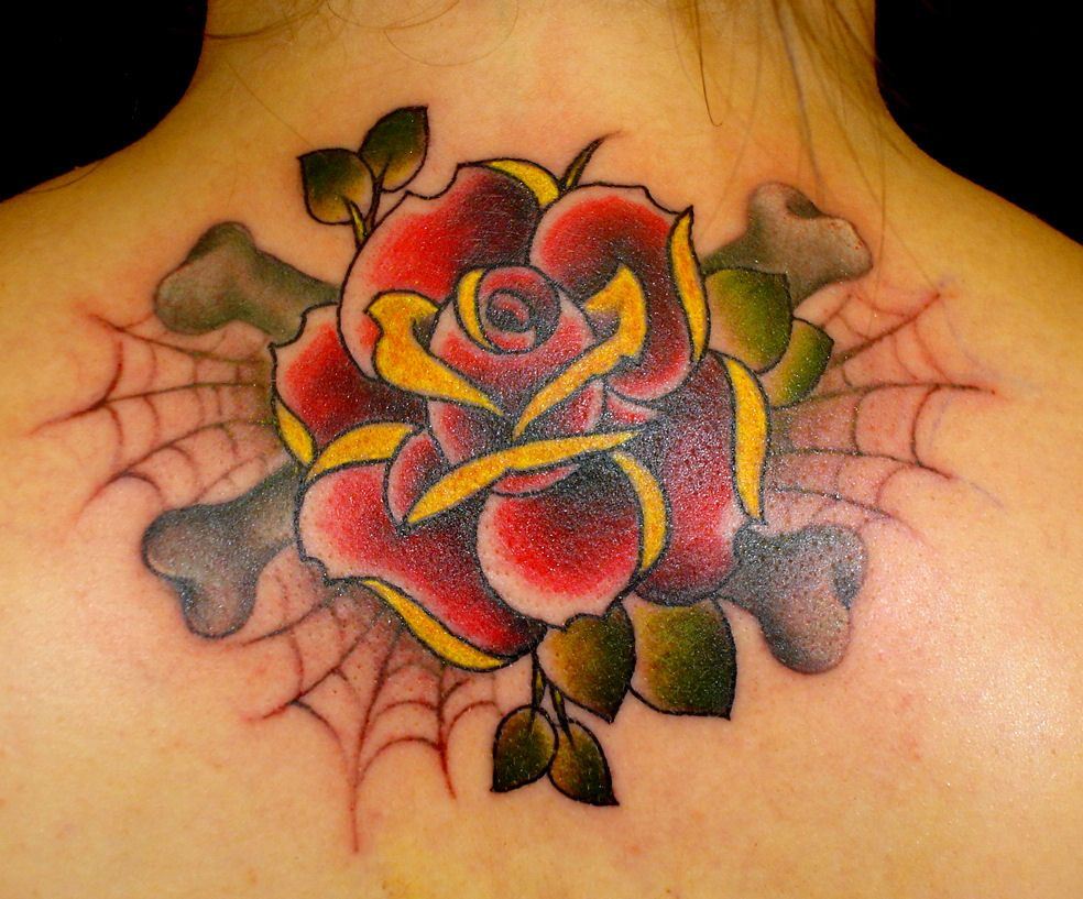 48 beautiful old school flowers tattoos. Black Bedroom Furniture Sets. Home Design Ideas