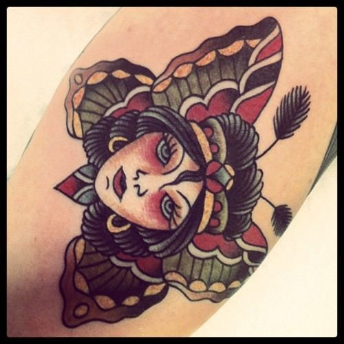 d1bb70546006b Butterfly Winged Beautiful Woman Old School Tattoo