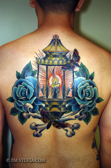 Nice Candle Lantern Tattoo On Leg