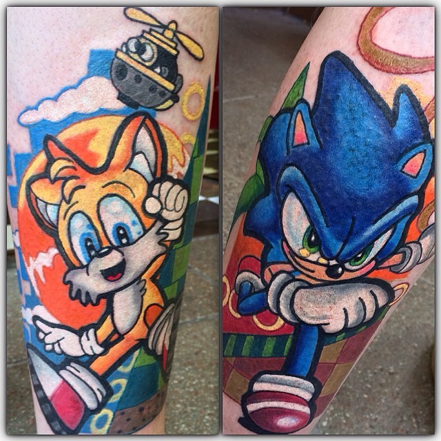 40e7fd1aa8b1d Colorful Sonic And Tails Tattoo By Cathy Sue