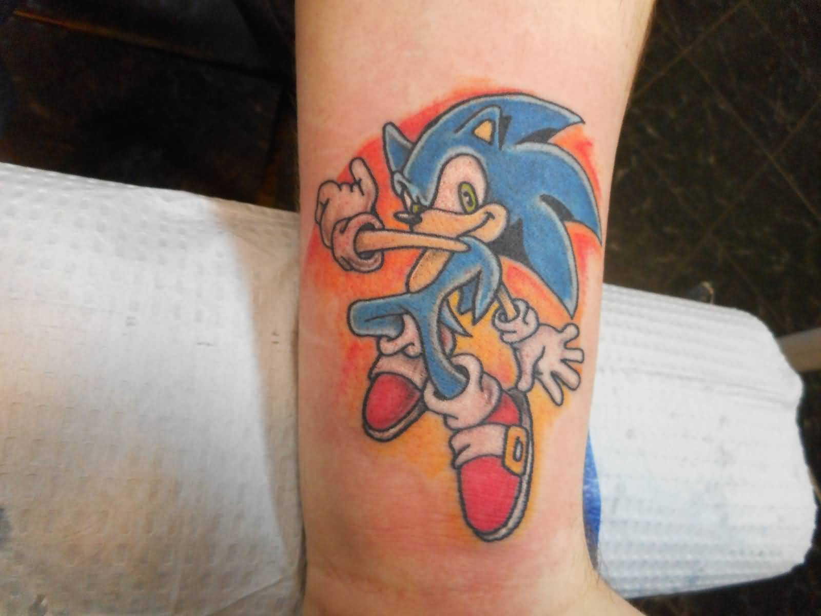 Colorful Sonic The Hedgehog Tattoo On Wrist