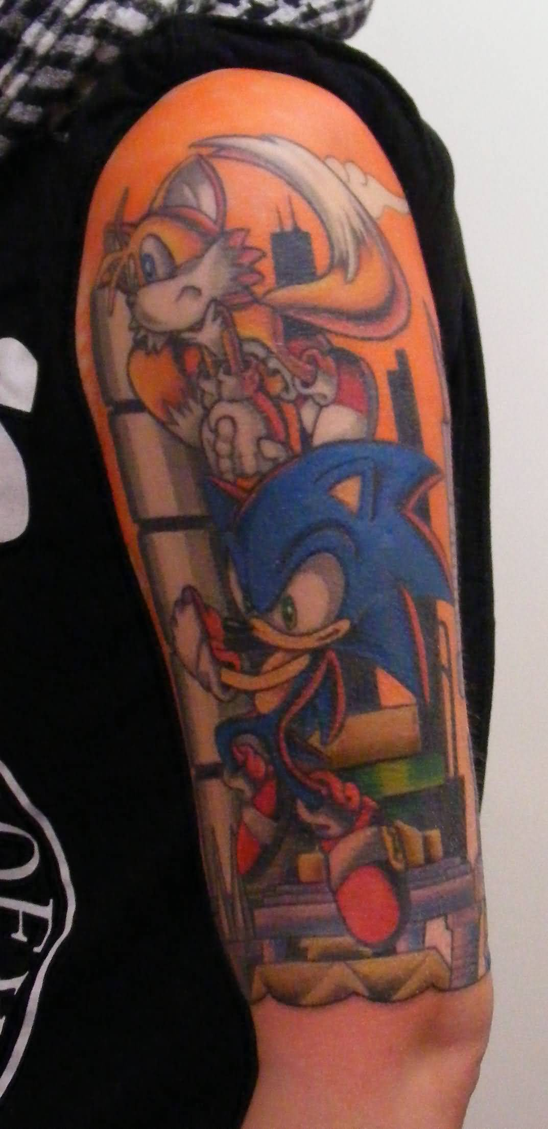 2d3ed20a5cfcd Colorful Tails And Sonic Tattoo On Left Half Sleeve