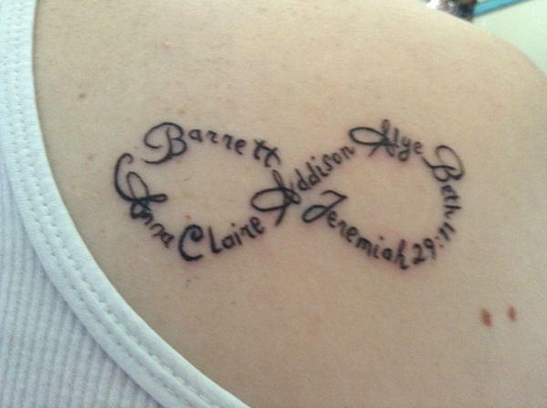 Creative Heart Infinity Symbol Tattoo On Hip