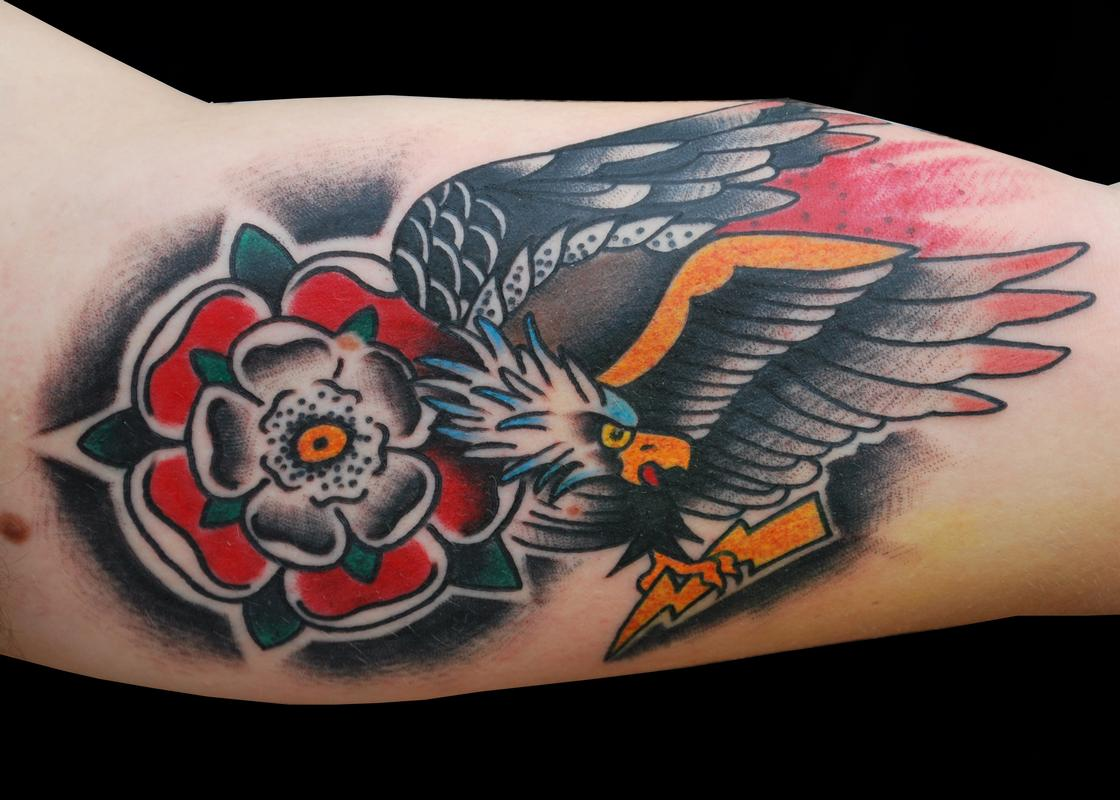 e8828759f Flower With Old School Eagle Tattoo On Arm