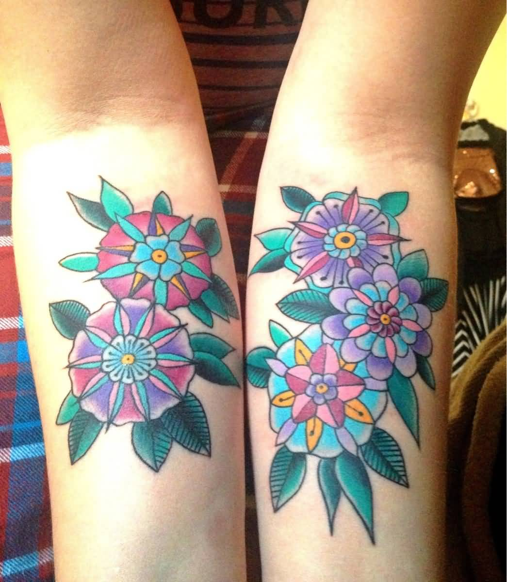 d91e66dfe103f Flowers Old School Tattoos On Both Forearms
