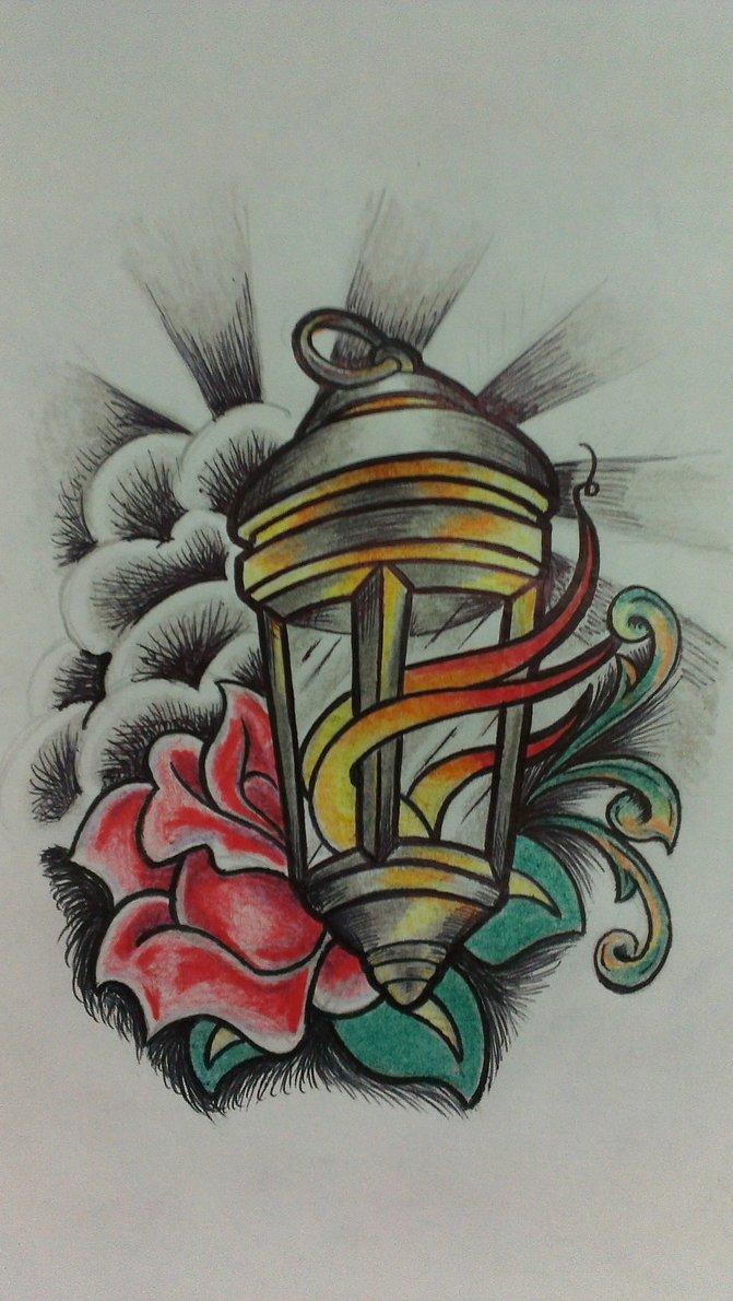 Graphic Lantern Traditional Tattoo Design