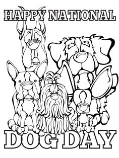 Happy National Dog Day Coloring Page