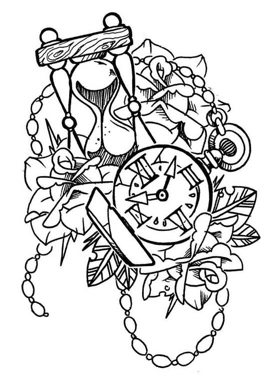 hourglass with clock and flowers old school tattoo design by vinoshitto. Black Bedroom Furniture Sets. Home Design Ideas