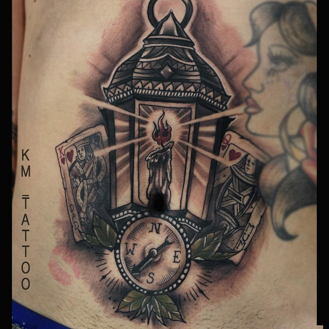 King And Queen Aroun Lantern Tattoo