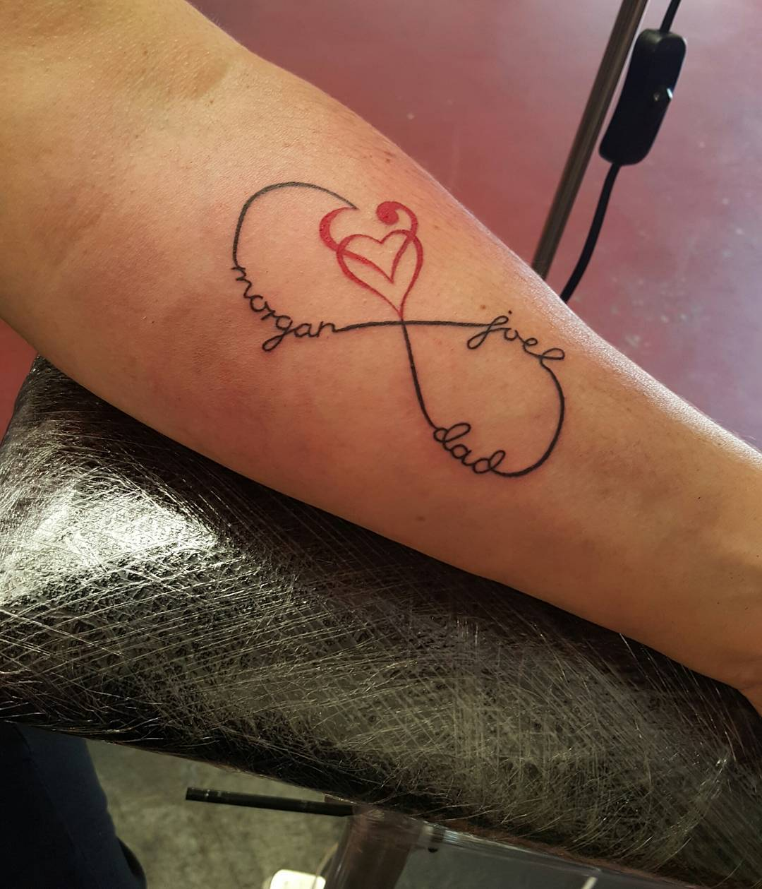 22 love infinity symbol tattoos lovely infinity symbol with names tattoo on forearm buycottarizona Image collections