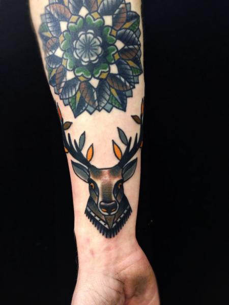4b73c417ce0ad Mandala Flower And Deer Tattoo On Forearm By Matt Cooley