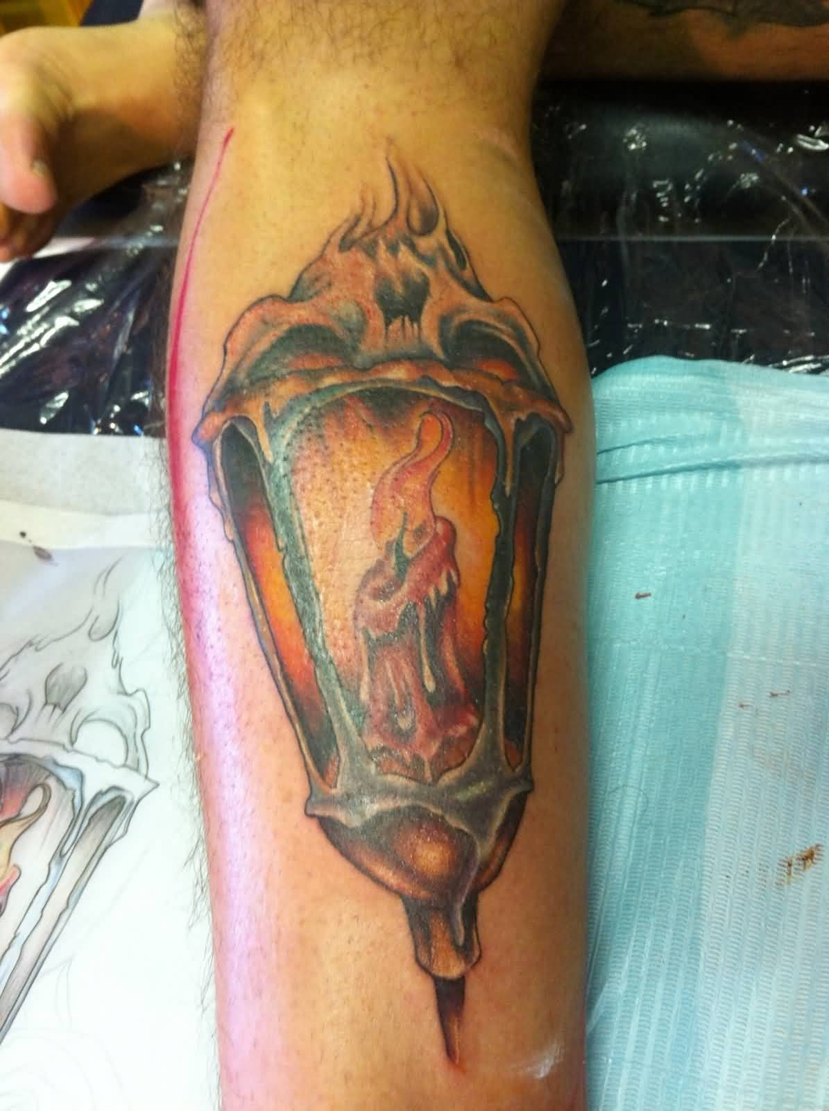 Nice Candle Lantern Tattoo On Leg
