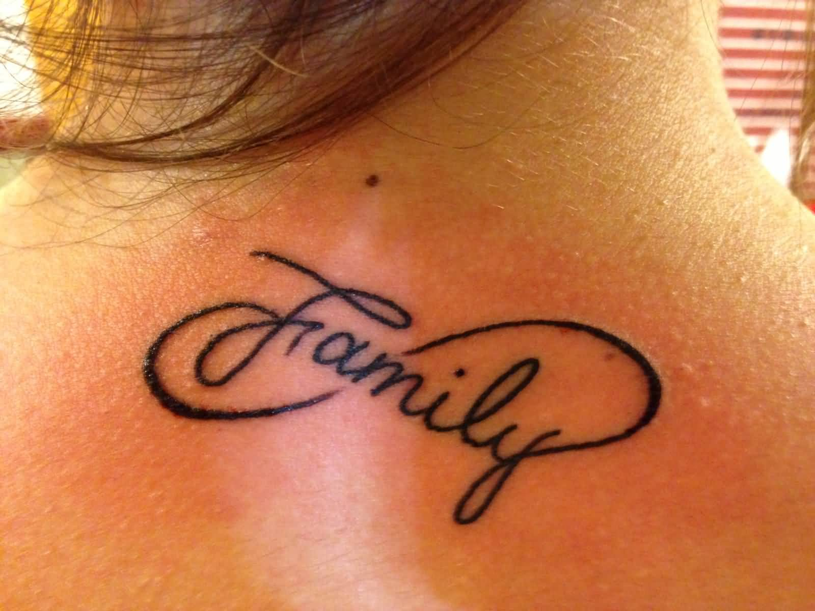98a0721d4 Nice Family Infinity Symbol Tattoo On Upper Back